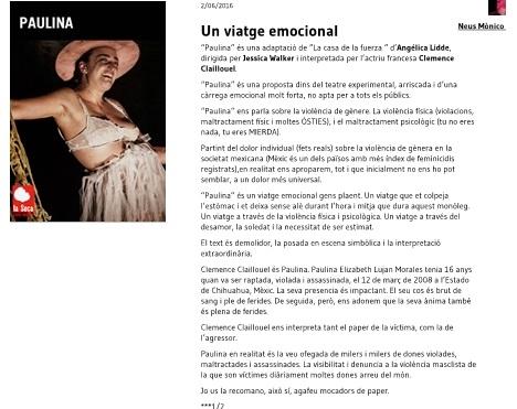 Paulina - Recomanació teatral - Neus Mònico Fernández - Teatre Barcelona-page1-1